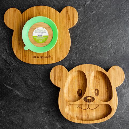 Assiette en bambou avec base à succion - Éléphant