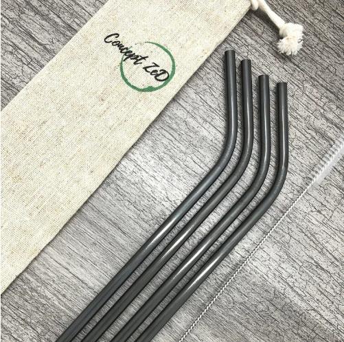 Ensemble de pailles en acier inoxydable - Pliées