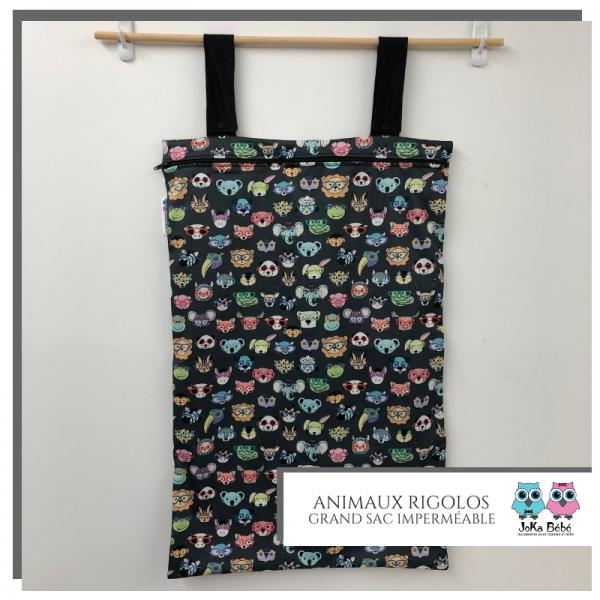 Grand sac imperméable (Wet bag) - Animaux rigolos 1