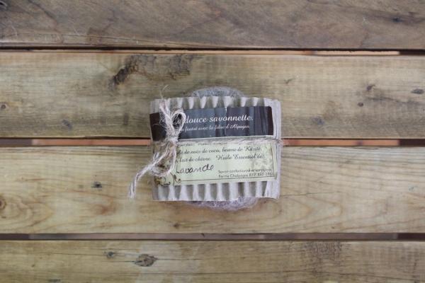 Savon exfoliant en laine d'alpagas - Lavande